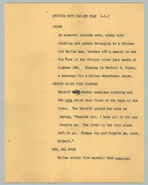 Primary view of object titled '[News Script: Suicide note caused hoax]'.