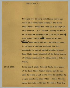 Primary view of object titled '[News Script: School vote]'.