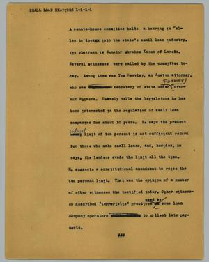 Primary view of object titled '[News Script: Small Loan Hearings]'.