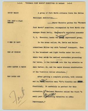 "Primary view of object titled '[News Script: ""Foreward Fort Worth"" committee in Dallas]'."