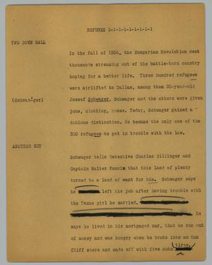 Primary view of object titled '[News Script: Refugee ]'.