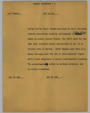 Primary view of object titled '[News Script: Hanson statement]'.