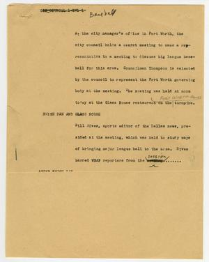 Primary view of object titled '[News Script: Baseball]'.