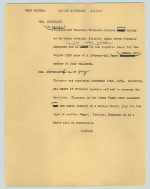 Primary view of object titled '[News Script: Rapist sentenced]'.