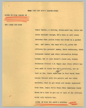Primary view of object titled '[News Script: Lost boy won't change story]'.