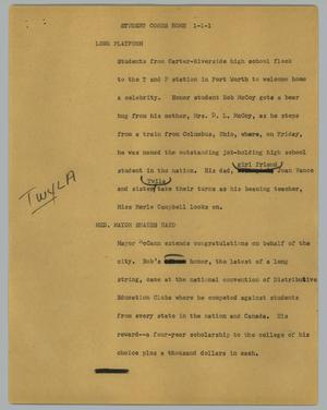 Primary view of object titled '[News Script: Student Comes Home]'.