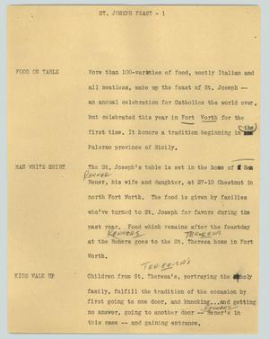 Primary view of object titled '[News Script: St. Joseph feast]'.