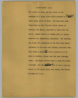 Primary view of object titled '[News Script: Plane crash]'.