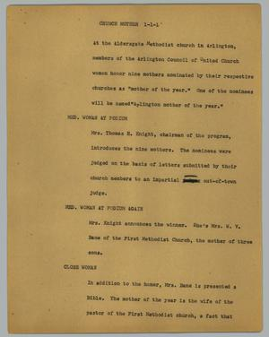 Primary view of object titled '[News Script: Church Mother]'.