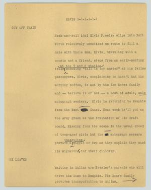 Primary view of object titled '[News Script: Elvis]'.