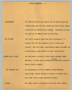 Primary view of object titled '[News Script: Little Leaguers]'.