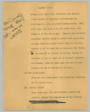 Primary view of object titled '[News Script: Robber]'.