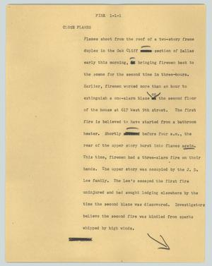 Primary view of object titled '[News Script: Close Flames]'.