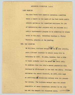 Primary view of object titled '[News Script: Screening committee]'.