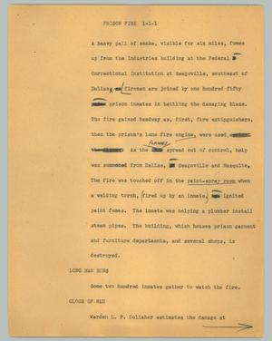 Primary view of object titled '[News Script: Prison Fire]'.