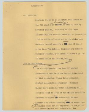 Primary view of object titled '[News Script: Governor]'.