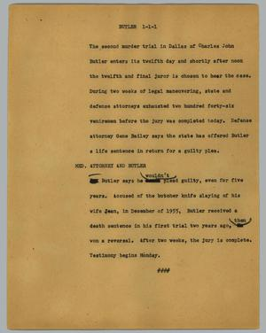 Primary view of object titled '[News Script: Butler]'.