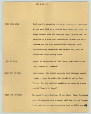 Primary view of object titled '[News Script: New Road]'.