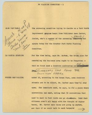 Primary view of object titled '[News Script: FW planning committee]'.