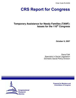 Primary view of object titled 'Temporary Assistance for Needy Families (TANF): Issues for the 110th Congress'.