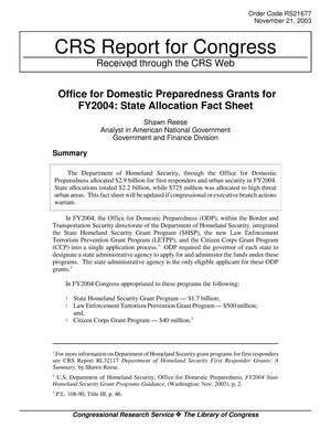 Primary view of Office for Domestic Preparedness Grants for FY2004: State Allocation Fact Sheet