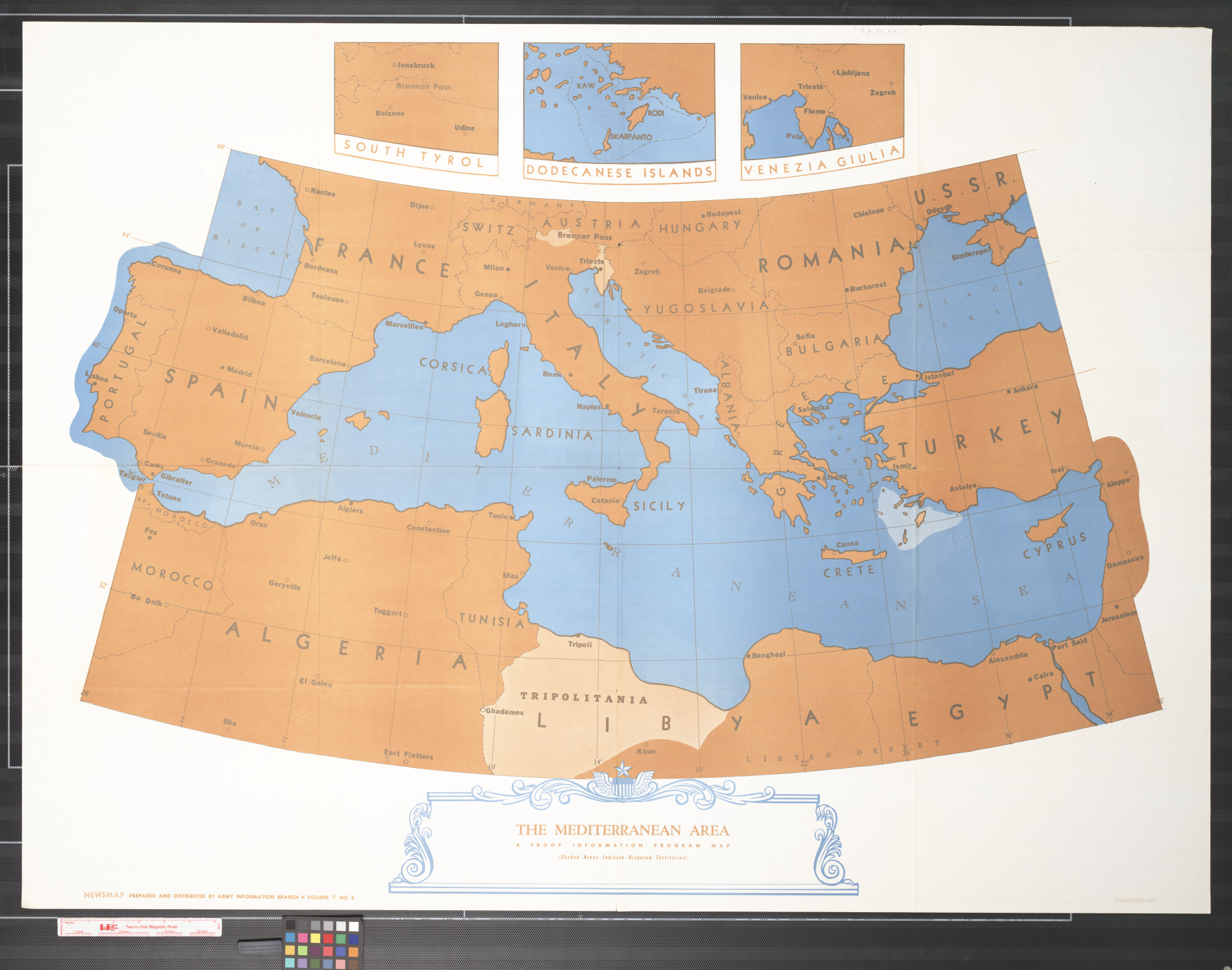Newsmap : The Mediterranean area : a troop information program map                                                                                                      [Sequence #]: 1 of 2