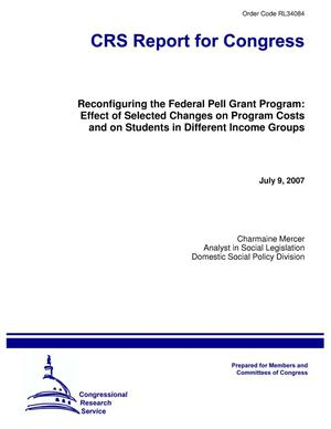 Primary view of object titled 'Reconfiguring the Federal Pell Grant Program: Effect of Selected Changes on Program Costs and on Students in Different Income Groups'.