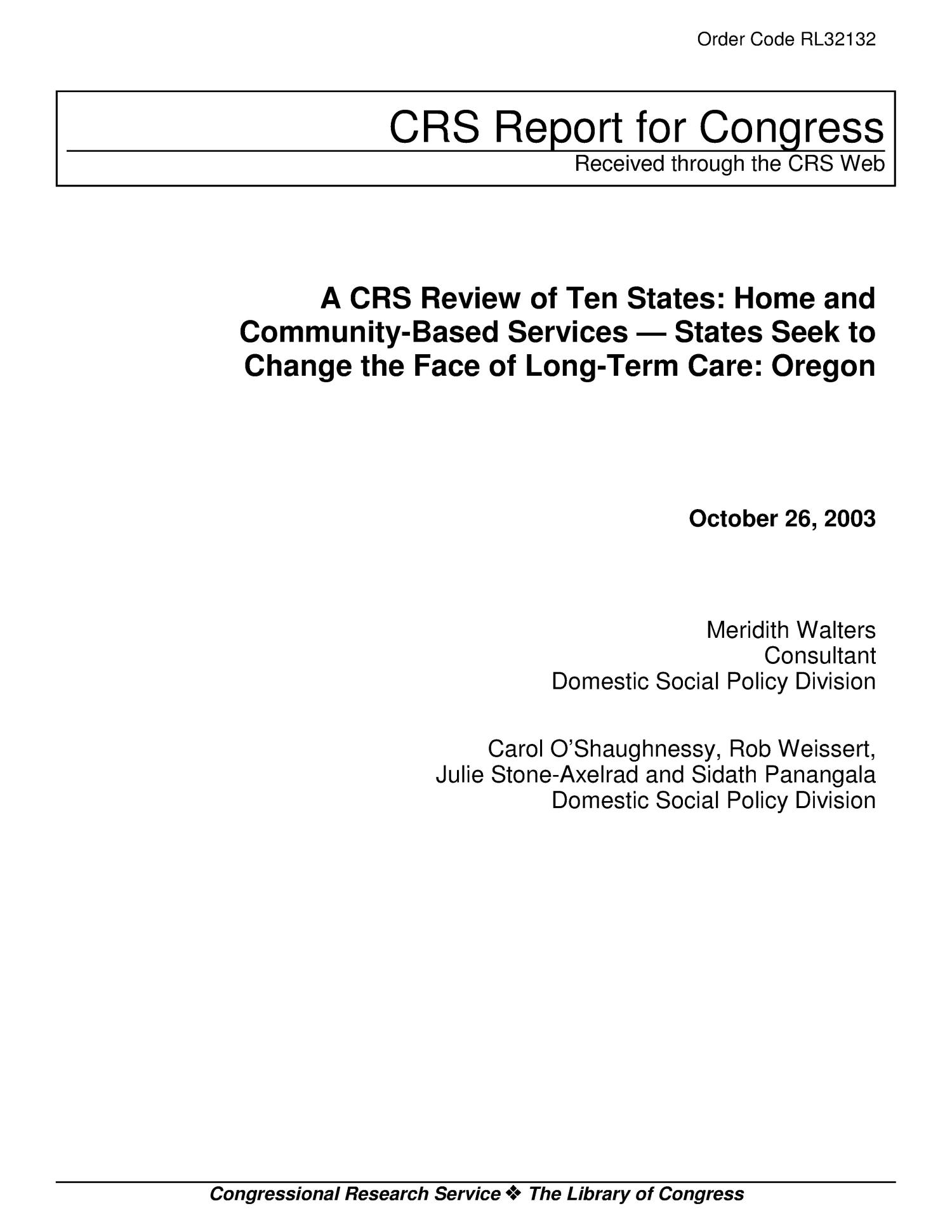A CRS Review of Ten States: Home and Community-Based Services ...