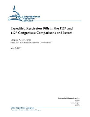 Primary view of object titled 'Expedited Rescission Bills in the 111th and 112th Congresses: Comparisons and Issues'.