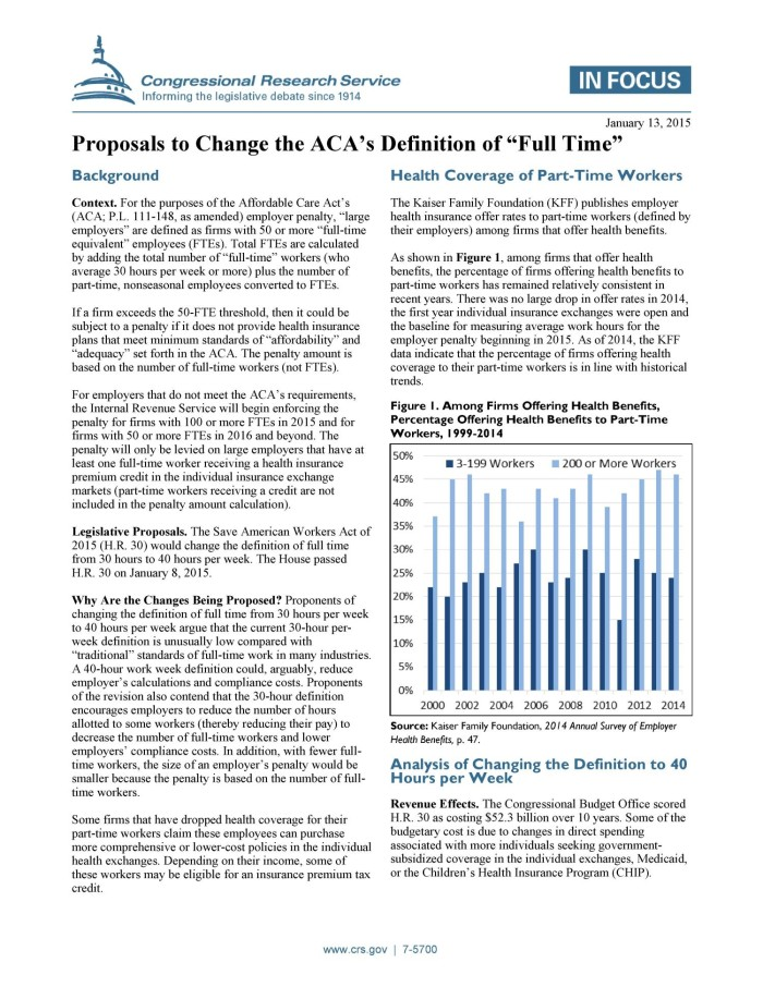 """Proposals to Change the ACA's Definition of """"Full Time"""