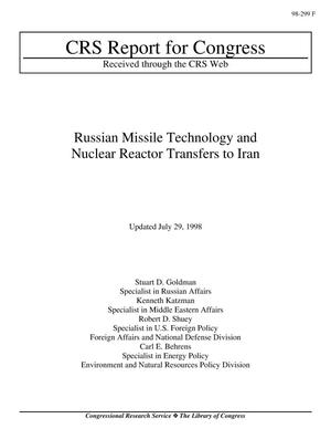 Primary view of object titled 'Russian Missile Technology and Nuclear Reactor Transfers to Iran'.