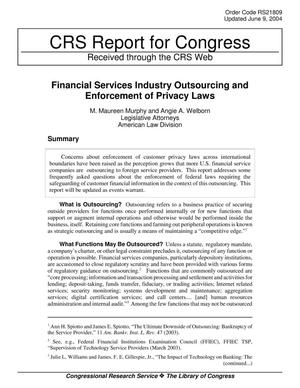 Primary view of object titled 'Financial Services Industry Outsourcing and Enforcement of Privacy Laws'.