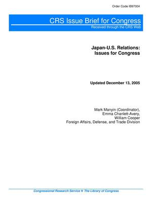 Primary view of object titled 'Japan-U.S. Relations: Issues for Congress'.