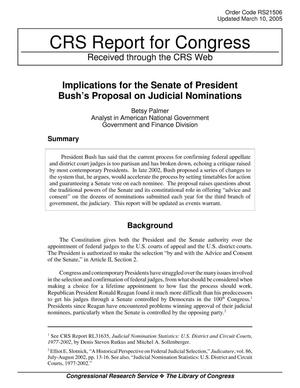 Primary view of object titled 'Implications for the Senate of President Bush's Proposal on Judicial Nominations'.