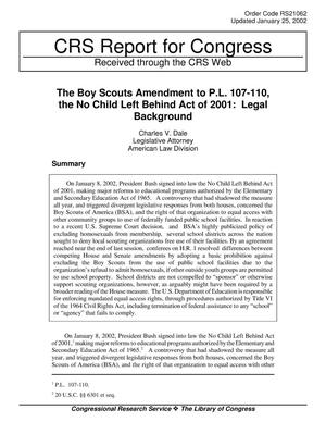 Primary view of object titled 'The Boy Scouts Amendment to P.L. 107-110, the No Child Left Behind Act of 2001: Legal Background'.