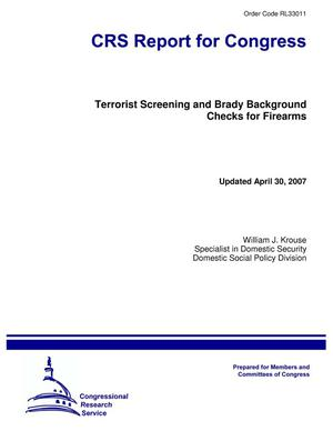 Primary view of object titled 'Terrorist Screening and Brady Background Checks for Firearms'.
