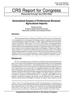 Primary view of object titled 'Generalized System of Preferences Renewal: Agricultural Imports'.
