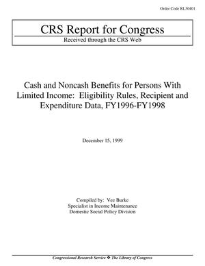 Primary view of object titled 'Cash and Noncash Benefits for Persons With Limited Income: Eligibility Rules, Recipient and Expenditure Data, FY1996-FY1998'.
