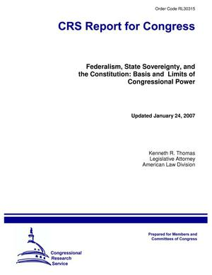 Primary view of object titled 'Federalism, State Sovereignty, and the Constitution: Basis and Limits of Congressional Power'.