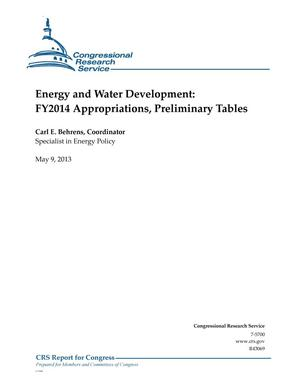 Primary view of object titled 'Energy and Water Development: FY2014 Appropriations, Preliminary Tables'.