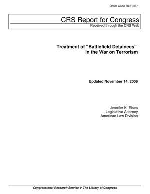 "Primary view of object titled 'Treatment of ""Battlefield Detainees"" in the War on Terrorism'."