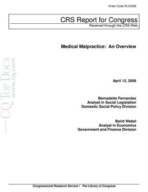 Primary view of object titled 'Medical Malpractice: An Overview'.