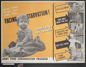 Primary view of object titled 'Newsmap : Facing Starvation! : Army food conservation program'.