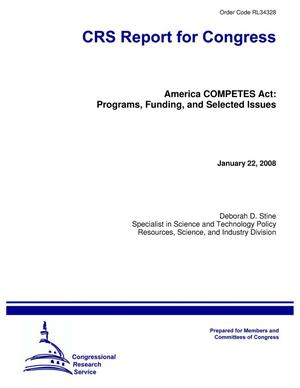 Primary view of object titled 'America COMPETES Act: Programs, Funding, and Selected Issues'.