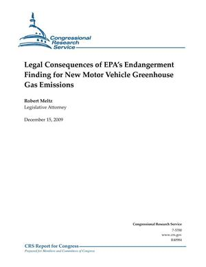 Primary view of object titled 'Legal Consequences of EPA's Endangerment Finding for New Motor Vehicle Greenhouse Gas Emissions'.