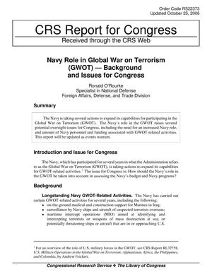Primary view of object titled 'Navy Role in Global War on Terrorism (GWOT) — Background and Issues for Congress'.