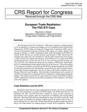 Primary view of object titled 'European Trade Retaliation: The FSC-ETI Case'.