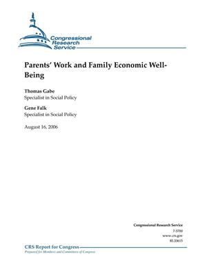 Primary view of object titled 'Parents' Work and Family Economic Well-Being'.