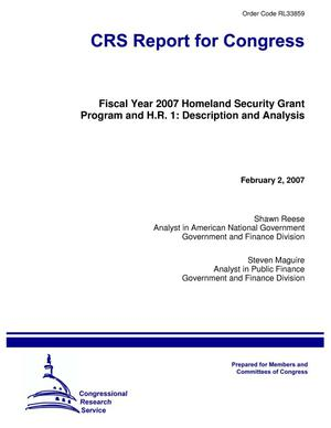 Primary view of object titled 'Fiscal Year 2007 Homeland Security Grant Program and H.R. 1: Description and Analysis'.