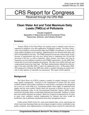 Primary view of object titled 'Clean Water Act and Total Maximum Daily Loads (TMDLs) of Pollutants'.